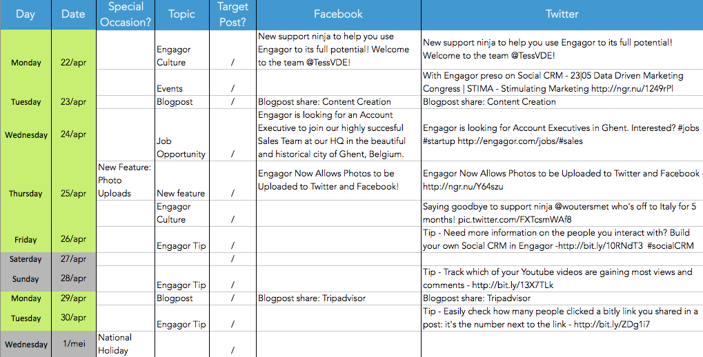 Content Plan Example