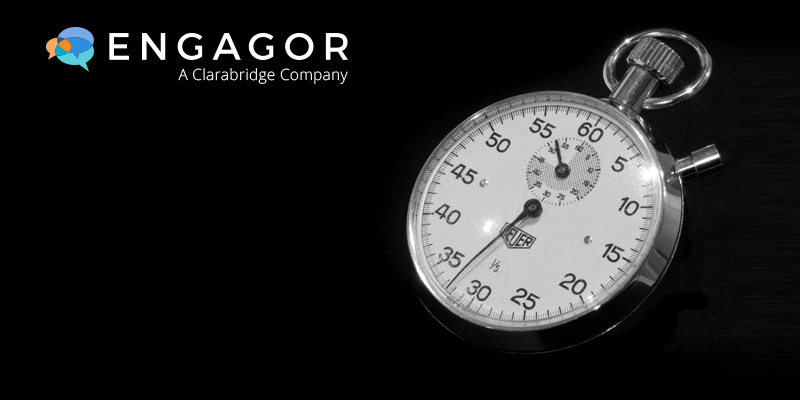 Engagor Logo with stopwatch