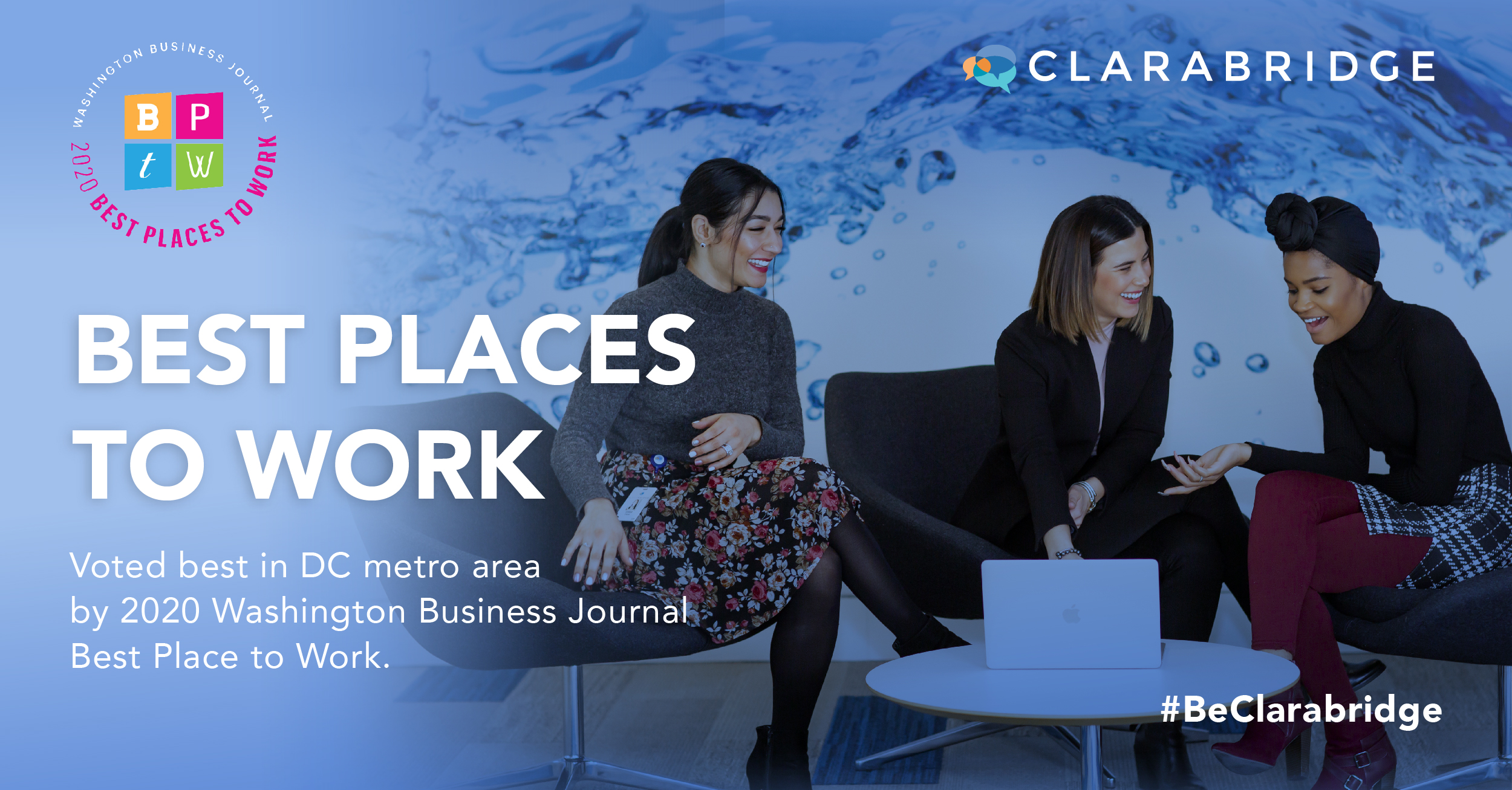 Clarabridge named best places to work in 2020 by WBJ graphic